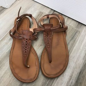 Leather Brown Tribal Cut Out Sandals